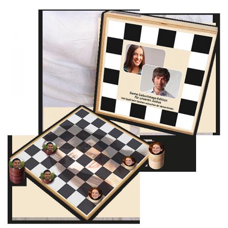 Holz-Damespiel personalisiert von Luudoo für Geburtstage oder Hochzeiten
