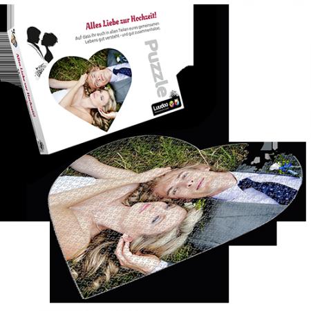 Personalsiertes Fotopuzzle in Herzform von Luudoo