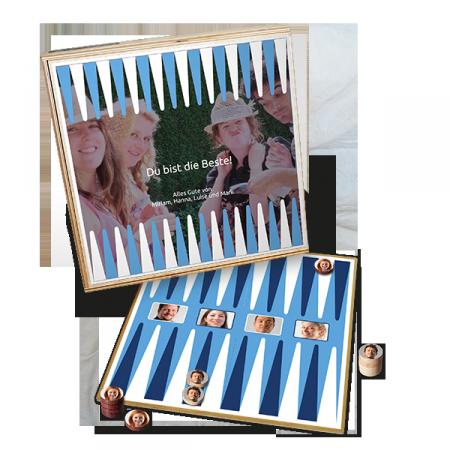 Backgammon personalisiert zum Verschenken für Weihnachten oder Geburtstage