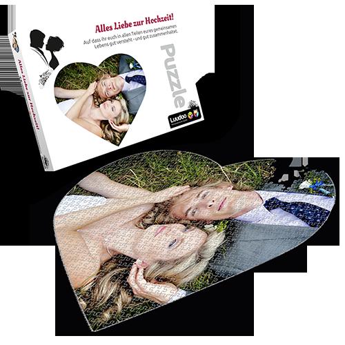 Personalisiertes Foto-Herz-Puzzle mit 600 Teilen