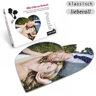Individuelles Hochzeitsgeschenk Herzpuzzle, bedruckt mit eigenen Bildern